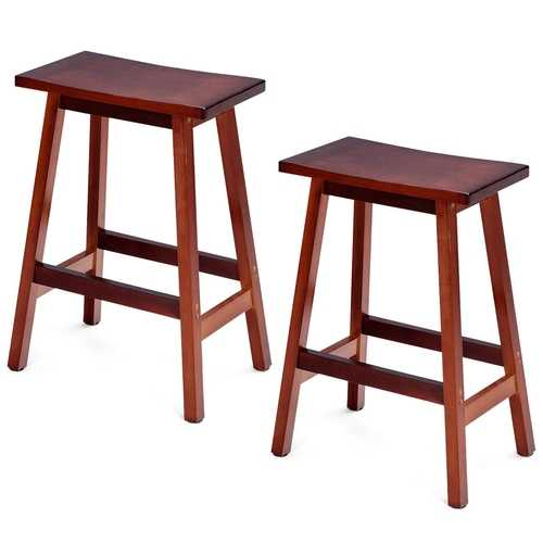 "2-Set Walnut Saddle Seat 24""/ 29"" Bistro Wooden Bar Stools"