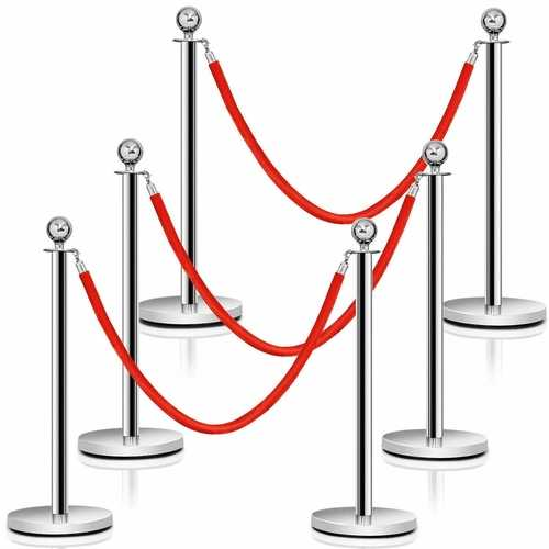 6 pcs Stanchion Posts Queue Pole