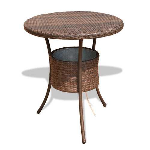 "32"" Outdoor Patio Rattan Cooler Table"