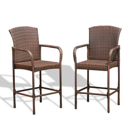 Set of Two Outdoor Rattan Wicker Bar Chairs