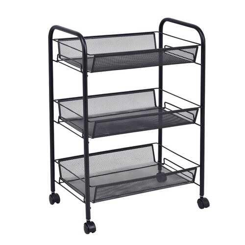 Black/Gray 3 Tier Storage Rack Trolley Cart-Black
