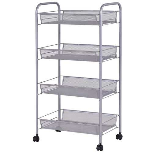 Black/Gray 4 Tier Storage Rack Trolley Cart-Black