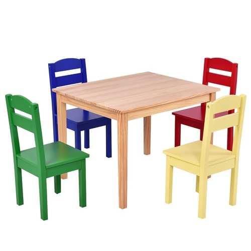 5 pcs Kids Pine Wood Table Chair Set