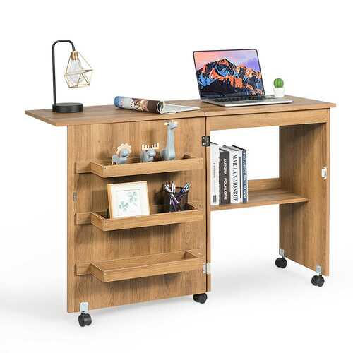 Folding Sewing Craft Table Shelf Storage Cabinet Home Furniture-Natural