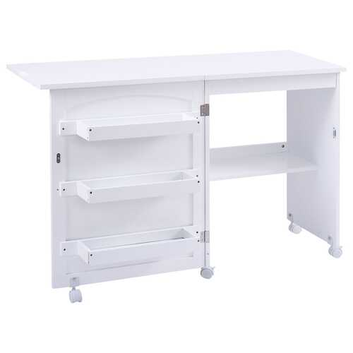 White Folding Swing Craft Table Storage Shelves Cabinet