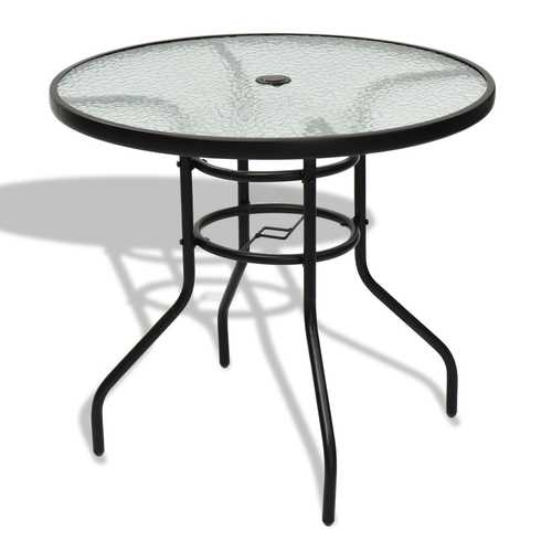 """32"""" Patio Tempered Glass Steel Frame Round Table"""