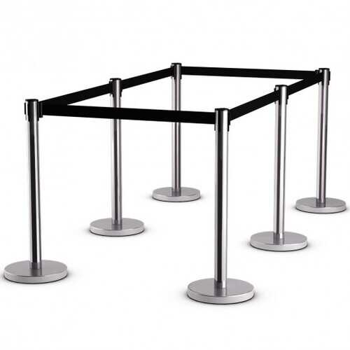 6 pcs Retractable Stanchion Posts Queue Pole