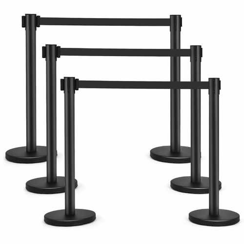 6 pcs Retractable Black Stanchion Posts Queue Pole