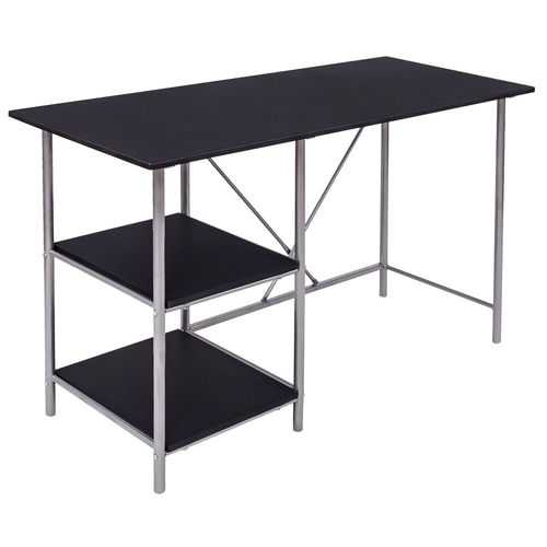Black Writing Laptop Desk with 2 Shelves