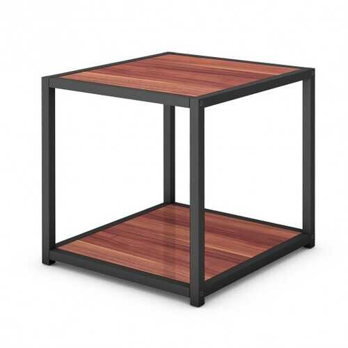 "20"" Metal Square Side Table Coffee Stand Bottom with 2-Tier Shelf"