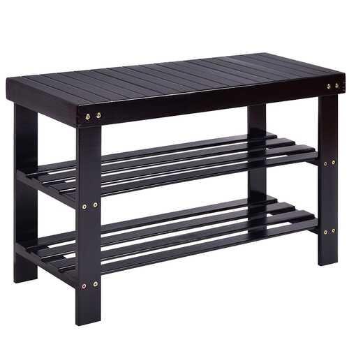 3 Tier Bamboo Bench Storage Shoe Shelf-Black