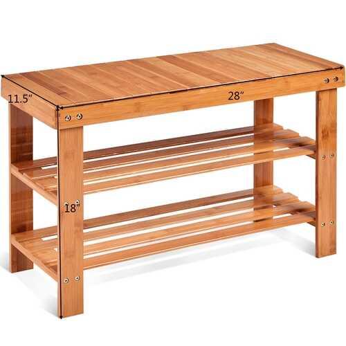 3 Tier Bamboo Bench Storage Shoe Shelf-Natural