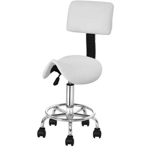 Adjustable Saddle Salon Rolling Massage Chair with White Backrest - Color: White