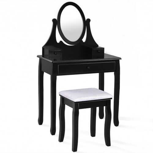 Bathroom Vanity Wooden Makeup Dressing Table Stool Set -Black