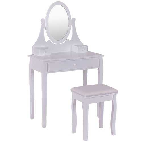 Bathroom Vanity Wooden Makeup Dressing Table Stool Set -White