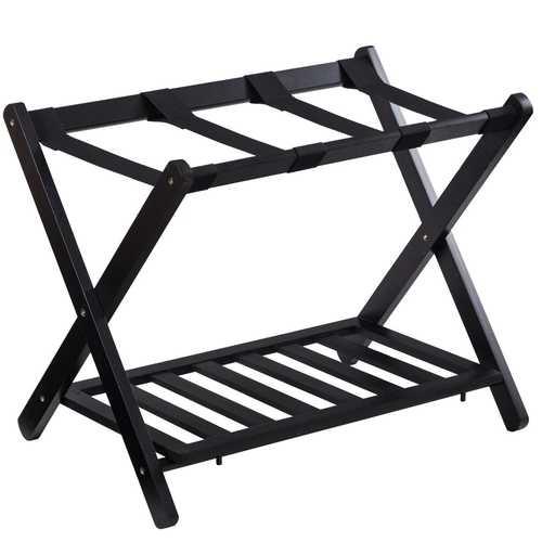 Folding Wood Stand Travel Luggage Rack with Shelf