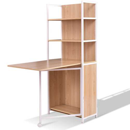 2-in-1 Foldable Convertible Desk with Cabinet and Bookshelf