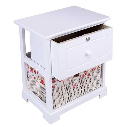 2 Tiers 1 Drawer Bedside Wood Nightstand with Basket