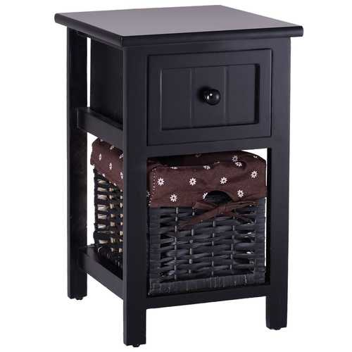 Mini 2 Tier 1 Drawer Wood Nightstand with Basket