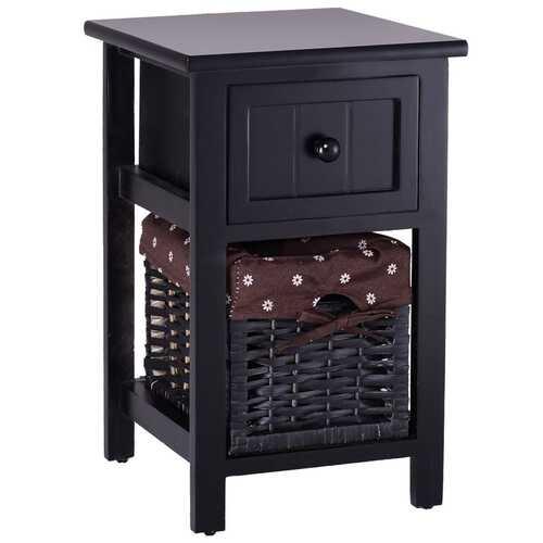 2 Tier 1 Drawer Bedside Organizer Wood Nightstand w/ Basket-Black