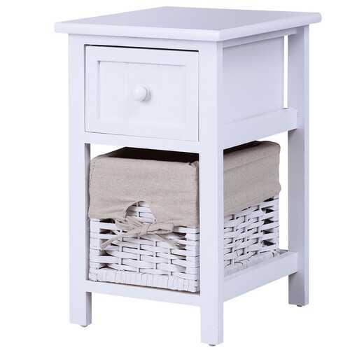 2 Tier 1 Drawer Bedside Organizer Wood Nightstand w/ Basket-White