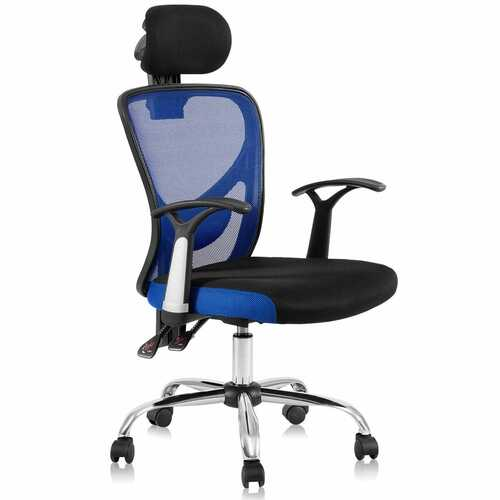 Ergonomic Mesh High Back Office Chair with Headrest-Blue