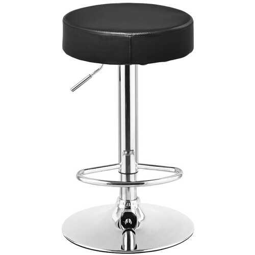 Adjustable Round Leather Swivel Seat Bar Stool-Black