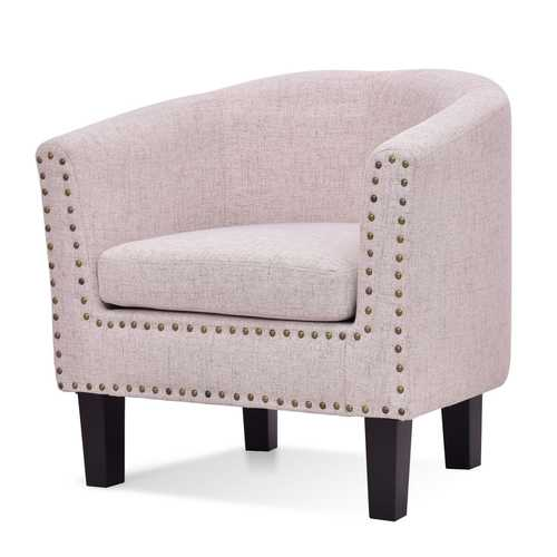 Modern Tub Barrel Fabric Nailhead Accent Arm Chair