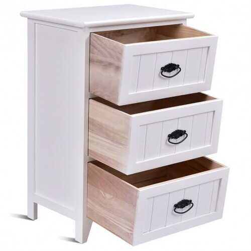3 Drawers End Storage Wood Side Nightstand-White