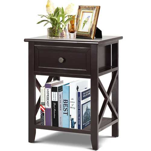 Bedside Storage Nightstand with Drawer and Bottom Shelf-Brown