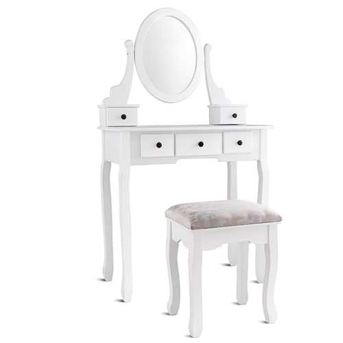 Dressing Table Set with Oval Mirror Stool and 5 Storage Drawers
