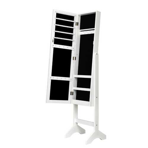 Attractive Rectangle Mirrored Jewelry Cabinet-White