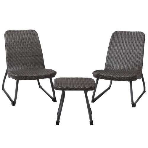3 pcs Outdoor All Weather Rattan Conversation Chair & Table Set
