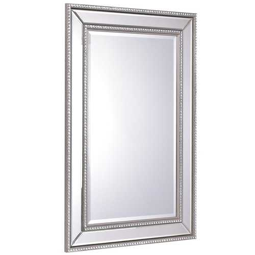 "24"" x 36"" Rectangular Wall-Mounted Wooden Frame Vanity Mirror"