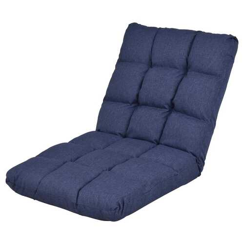 14-Position Adjustable Cushioned Floor Lazy Sofa Chair-Blue