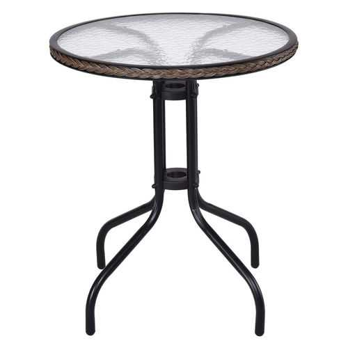 """24"""" Patio Furniture Glass Top Patio Round Table"""
