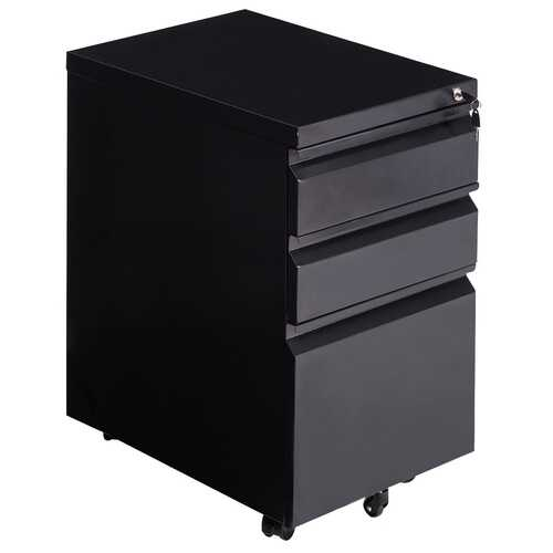 Steel Rolling Storage A4 Drawers File Cabinet-Black