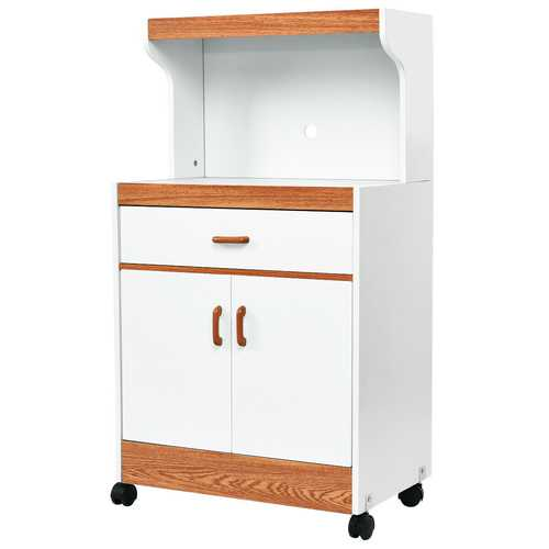 Rolling Microwave Stand Cabinet with Drawer and Two Doors