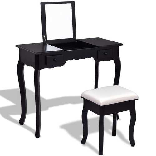 Mirrored Bathroom Dressing Vanity Table Set with Stool