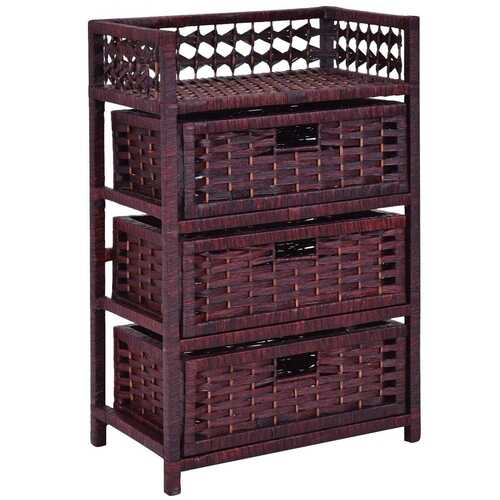 3 Drawers Wicker Baskets Storage Chest Rack-Coffee