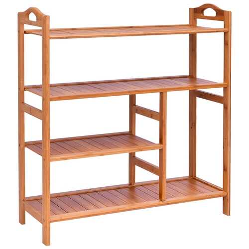 4 Tiers Multifunction Bamboo Storage Shoe Rack