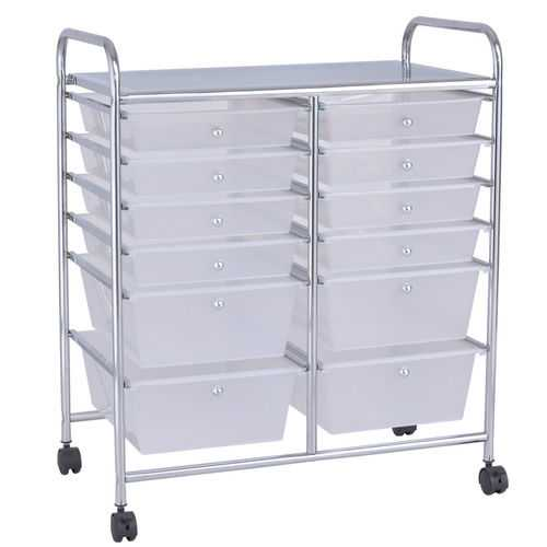 12 Storage Drawer Organizer Bins Rolling Cart
