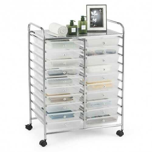 "20 Drawers Storage Rolling Cart Studio Organizer-Clear - Color: Clear - Size: 25"" x 15"" x 34"""