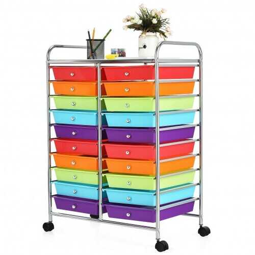 20 Drawers Storage Rolling Cart Studio Organizer-Multicolor - Color: Multicolor