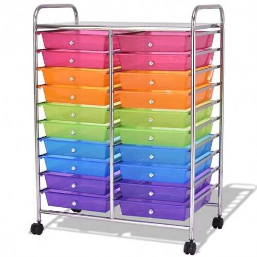 "20 Drawers Storage Rolling Cart Studio Organizer-Multicolor - Color: Transparent Multicolor - Size: 25"" x 15"" x 34"""