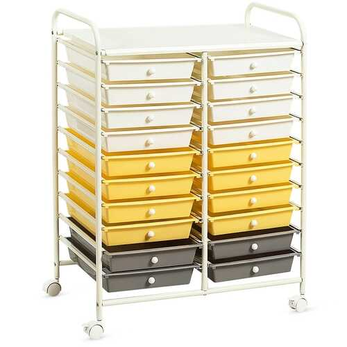 "20 Drawers Storage Rolling Cart Studio Organizer-Yellow - Color: Yellow - Size: 25"" x 15"" x 34"""