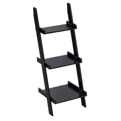 3 Tier Leaning Rack Wall Ladder Book Shelf Bookcase Storage Display Multipurpose-Black