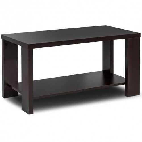Rectangular Cocktail Coffee Table with Storage Shelf