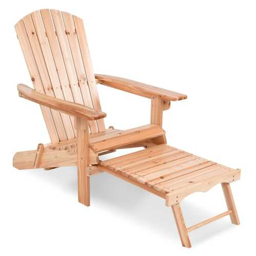 Patio Foldable Wood Adirondack Chair w/ Footrest Stool
