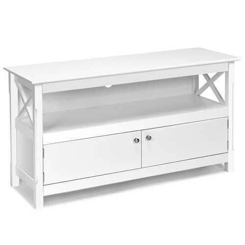 """44"""" Wooden Storage Cabinet TV Stand-White"""
